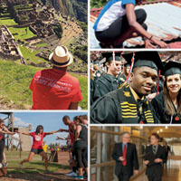 Students traveling across campus and studying abroad.