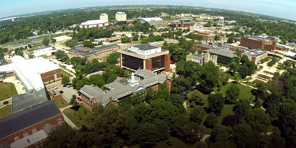 An overhead view of campus