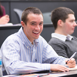 Student in a class at the College of Business